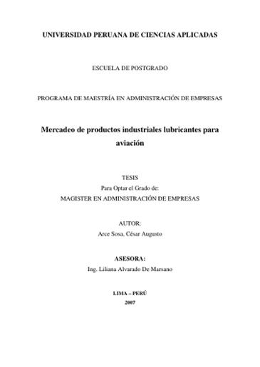 Mercadeo de productos industriales lubricantes para aviación