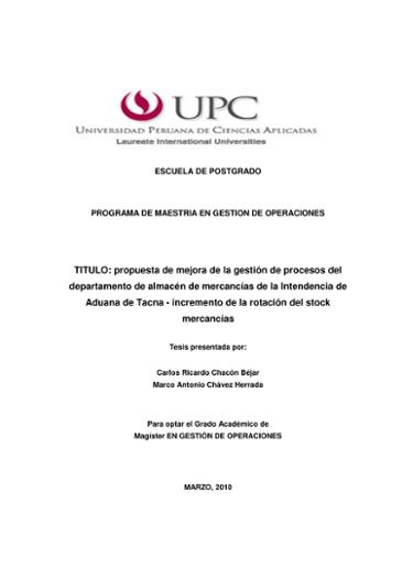 c4699452ad TITULO: propuesta de mejora de la gestión de procesos del departamento de  almacén de mercancías de la Intendencia de Aduana d