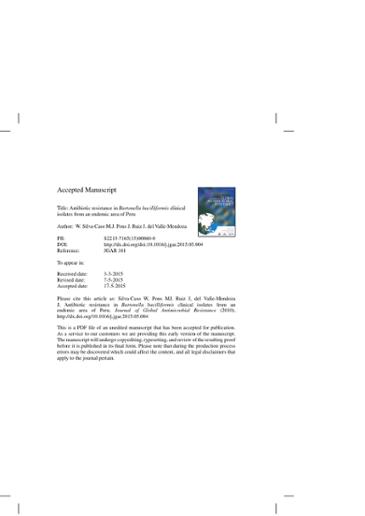 Antibiotic resistance in Bartonella bacilliformis clinical