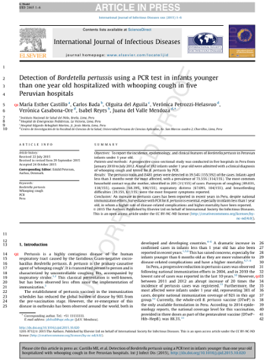 Detection of Bordetella pertussis using a PCR test in