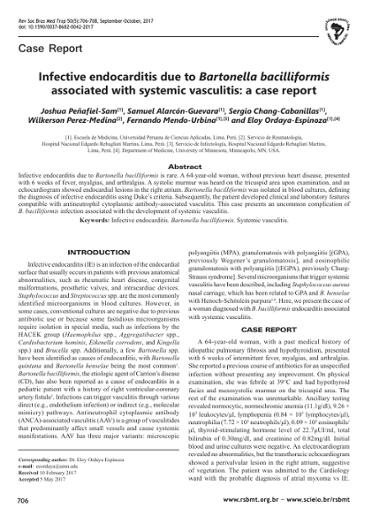 Infective endocarditis due to Bartonella bacilliformis