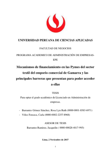 28d98dec6 Mecanismos de financiamiento en las pymes del sector textil del emporio  comercial de Gamarra y las principales barreras que pres