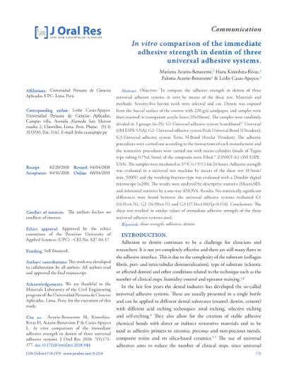 In Vitro Comparison Of The Immediate Adhesive Strength Dentin