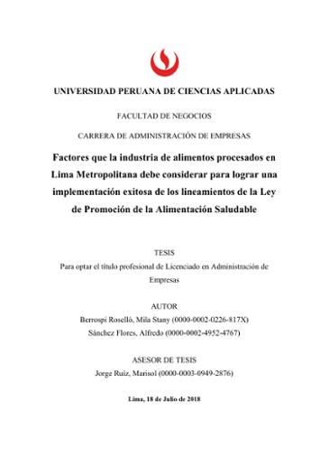 Factores que la industria de alimentos procesados en Lima